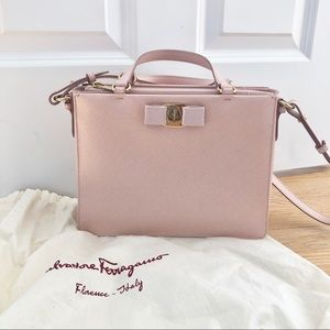 Salvatore Ferragamo Pink Leather Tracy Bow Satchel